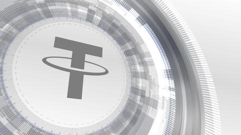 tether cryptocurrencyicon animation white digital elements technology background Animation