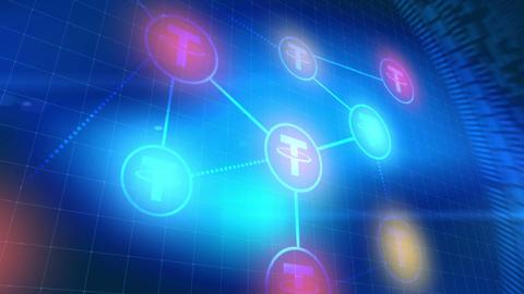 tether cryptocurrency icon animation blue digital elements technology background Animation