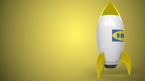 IKEA logo against a rocket mockup. Editorial conceptual success related Live Action