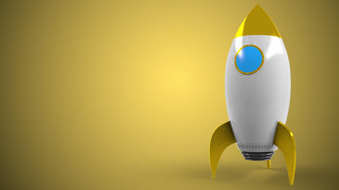 Logo of DHL on a toy rocket. Editorial conceptual success related animation Live Action