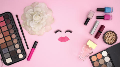 Eye lashes blinking and make up and cosmetics products around - Stop motion Animation