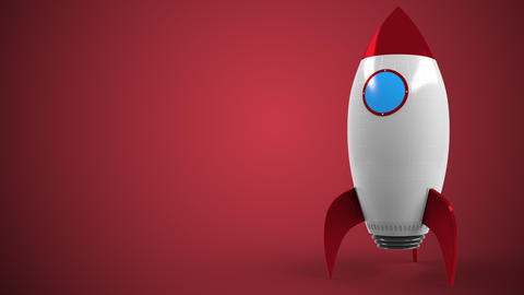 Logo of GENERALI on a toy rocket. Editorial conceptual success related animation Live Action