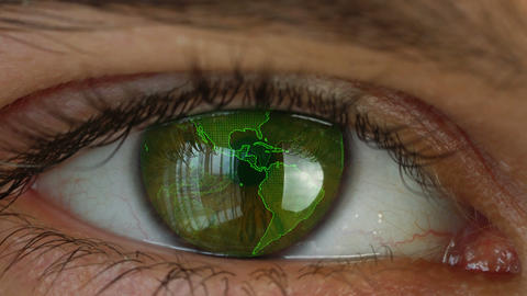 Human eye with futuristic vision system Animation