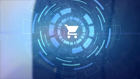 business man hand hologram hud projection shopping cart icon Animation