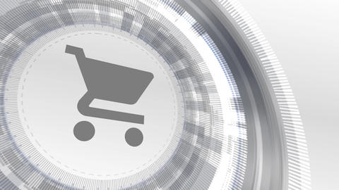 shopping cart icon animation white digital elements technology background Animation