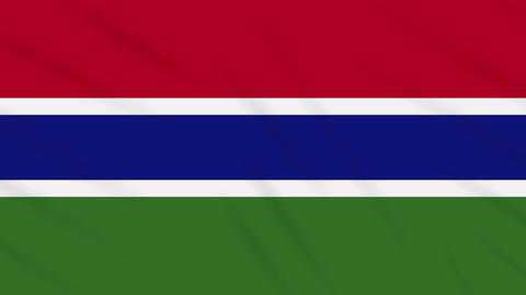Gambia flag waving cloth background, loop Animation