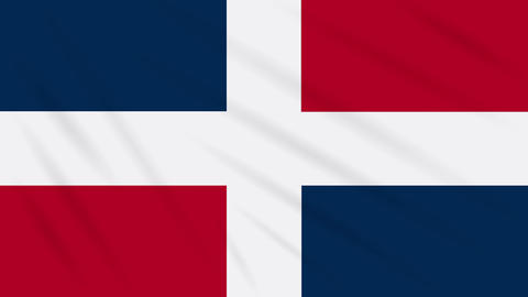 Dominican Republic flag cloth background, loop Animation
