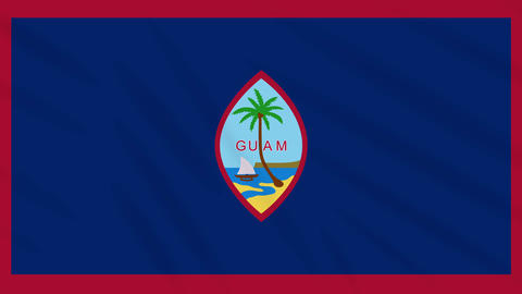 Guam flag waving cloth background, loop Animation