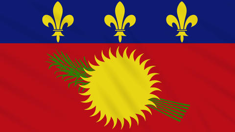 Guadeloupe flag waving cloth background, loop Animation