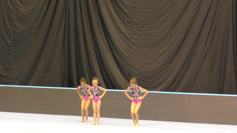 Orenburg, Russia, December 14, 2017 year: girl compete in sports acrobatics Footage