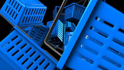 Blue Shopping baskets on black background Animation