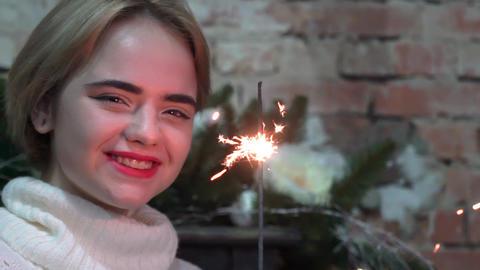 Charming Girl With Sparkler Celebrating Christmas Live Action