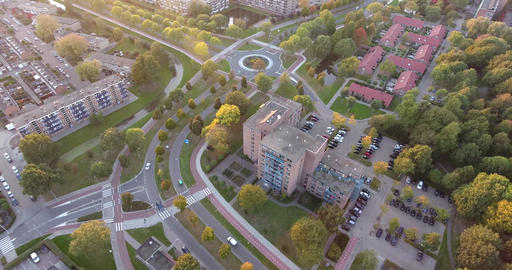 Sunset from Zwijndrecht city, aerial view, Netherlands Live Action