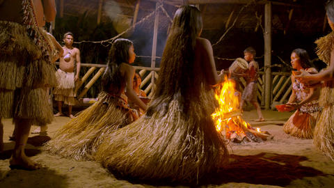 Traditional Indigenous Ceremony In The Jungle By Night In Ecuador Footage