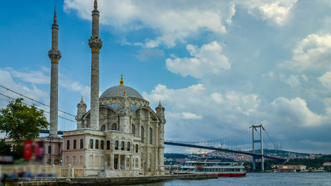Istanbul landscape. Istanbul's popular touristic destination Ortakoy Mosque and Bosphorus Bridge Live Action