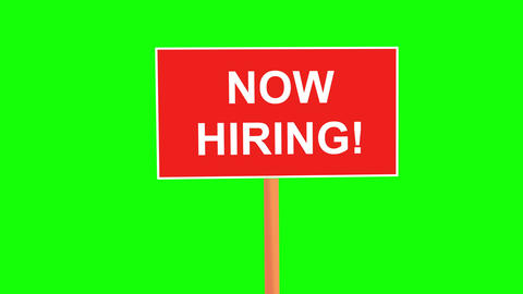 Now hiring placard animated on green background Animation