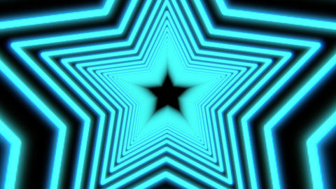 Turquoise Star flight Background. Futuristic Looped Tunnel Concept Animation