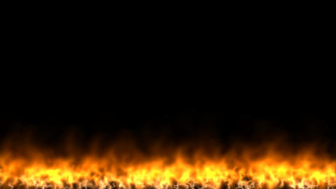 Wall of fire on black background Animation