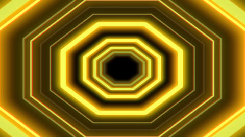 Abstract Yellow Futuristic Tunnel Flight animation Animation