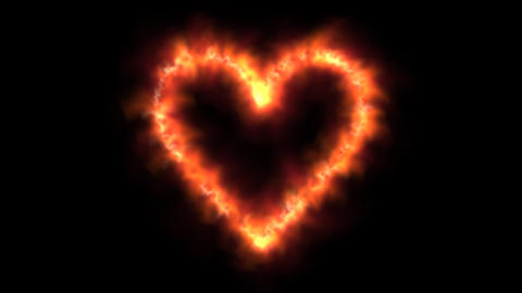 Fiery Heart symbol isolated against black background Animation