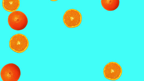 Whole oranges and slices against cyan background Animation