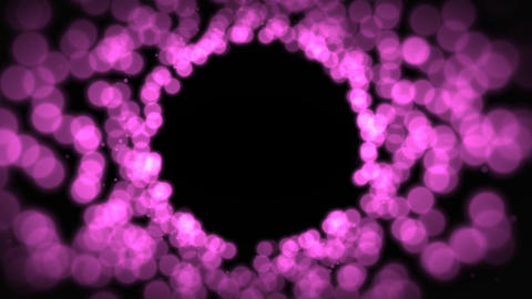 Beautiful abstract background with pink particles moving towards space with copy space. Celebration Animation