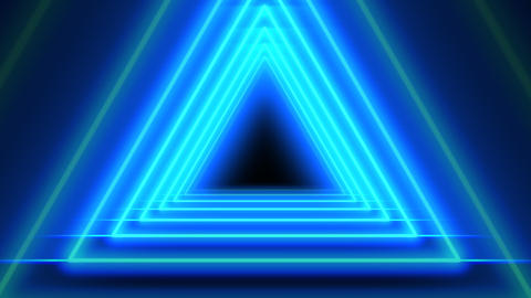Blue Neon Abstract Triangle Tunnel Seamless Background Animation