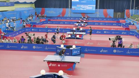 MINSK, BELARUS - JUNE, 2019: 2nd European Games, table tennis, June 26, 2019 Footage