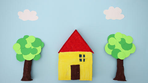House and threes on sunny day - Stop Motion Animation Animation