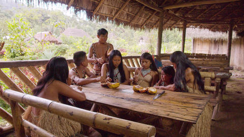 Indigenous People Eating Cacao Fruit In Ecuador Live Action