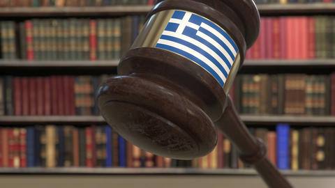 Flag of Greece on falling judges gavel in court. National justice or Live Action