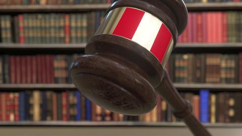 Flag of Peru on falling judges gavel in court. National justice or jurisdiction Live Action
