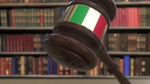 Flag of Italy on falling judges gavel in court. National justice or jurisdiction Live Action