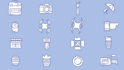 Photographer And Videographer Workplace Icon Set Animation