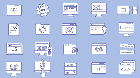 Web Developer Workplace Icon Set Animation