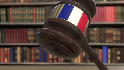 Flag of France on falling judges gavel in court. National justice or Live Action