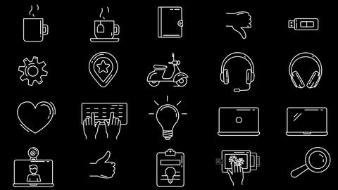 Workplace and Creative Professions Icon Set Animation