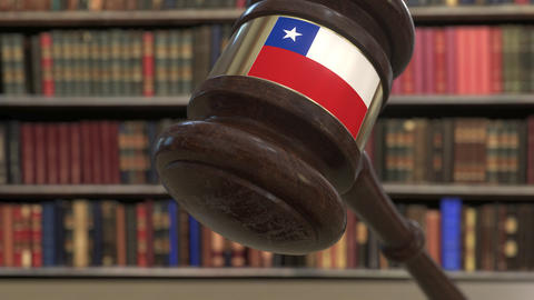 Flag of Chile on falling judges gavel in court. National justice or jurisdiction Live Action