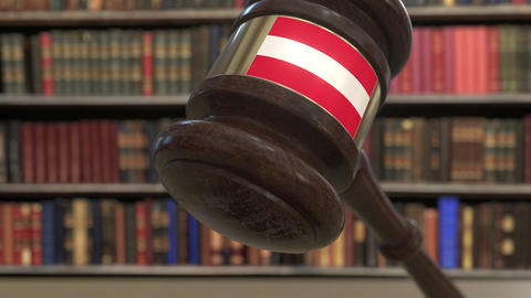 Flag of Austria on falling judges gavel in court. National justice or Live Action