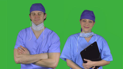 Couple of confident medical workers (Green Key) Footage