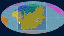 South Africa - 3D tube zoom (Mollweide projection). Continents Animation