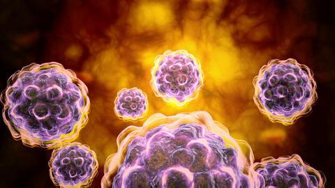 Microscopic visualization of poliovirus Stock Video Footage