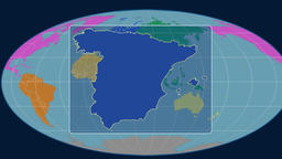 Spain - 3D tube zoom (Mollweide projection). Continents Animation