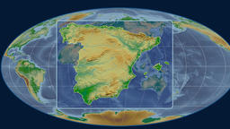 Spain - 3D tube zoom (Mollweide projection). Bumps shaded Animation