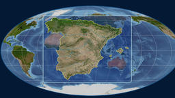 Spain - 3D tube zoom (Mollweide projection). Satellite Animation