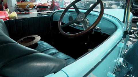 interior of an old and preserved retro car GIF