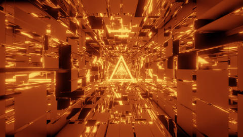 glowing wireframe with scifi space tunnel background 3d... Stock Video Footage