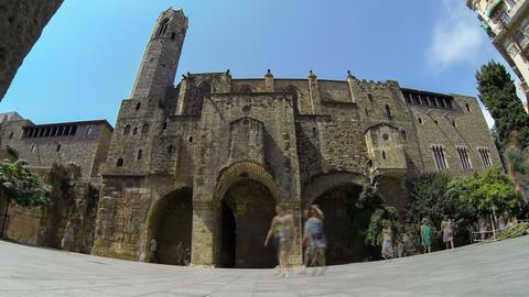 Touristic Barcelona, Gothic Quarter.Time Lapse Live Action