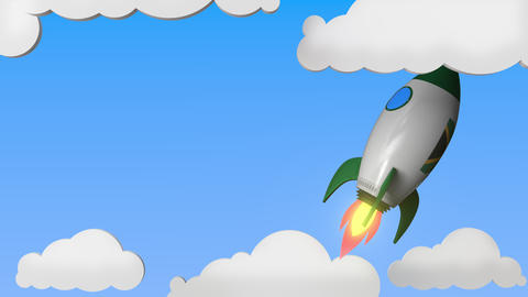 Rocket with flag of South Africa flies in the sky. South African success or Live Action