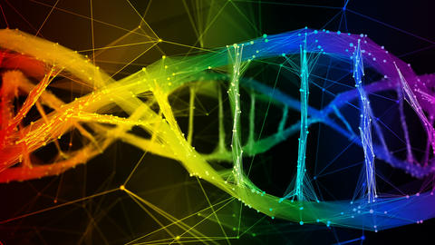 Iridescent rainbow Digital polygon DNA molecule strand colorful Loop Background Animation